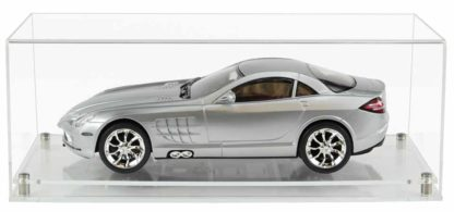 Front View of 1:18 Scale Model Car Display Case with a Clear Modern Base